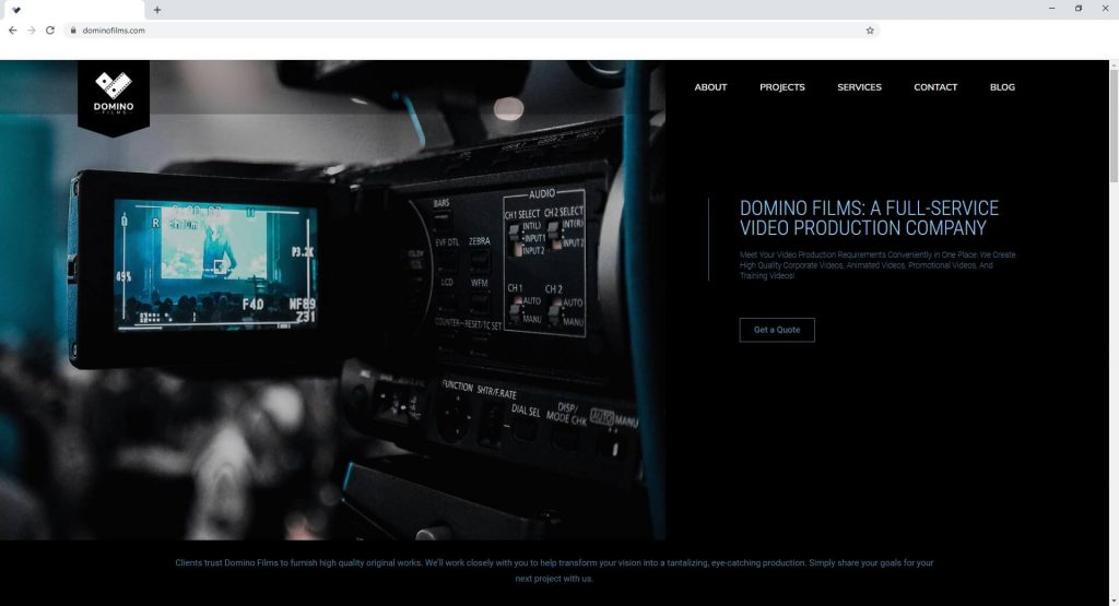 the home page web design for domino films